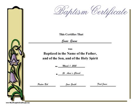 free baptism certificate templates baptismal template free invitations ideas