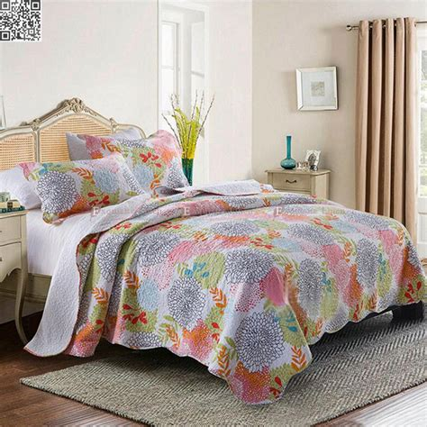 Quilted Bedspreads Size by King Size Floral Checked Patchwork Quilted Coverlet