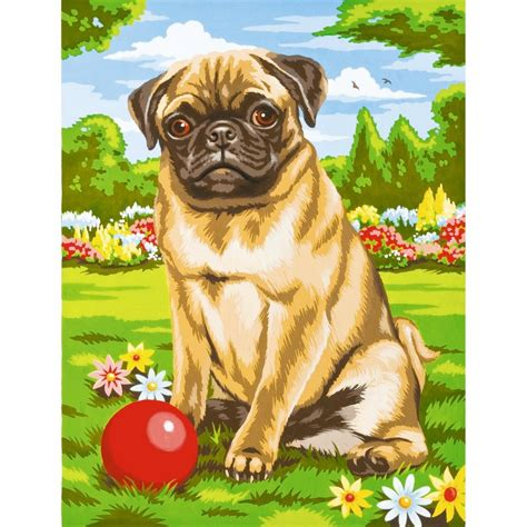 pug painting pug junior painting by numbers reeves from craftyarts co uk uk