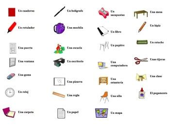 10 best images about classroom objects (los objetos dentro