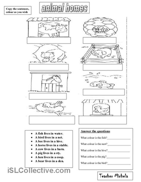 printable animal homes 10 best images of worksheets animal homes printable