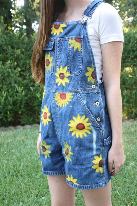 pattern blue overalls sunflower overalls