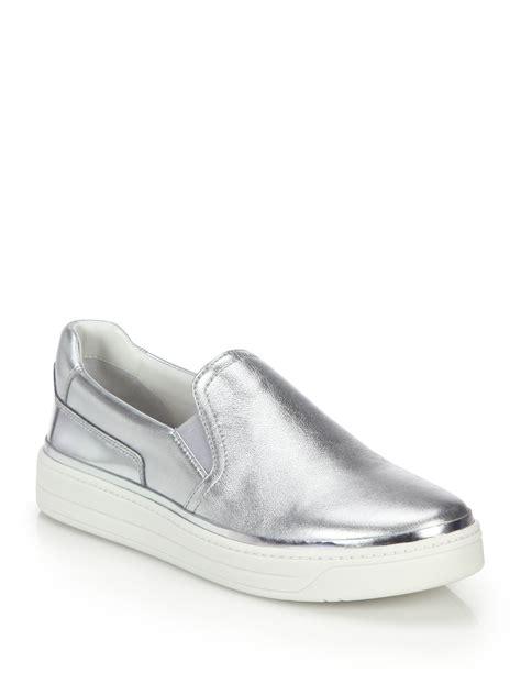 silver slippers shoes prada metallic leather skate sneakers in metallic lyst