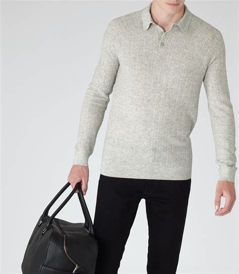 reiss wish knitted polo shirt in gray for lyst