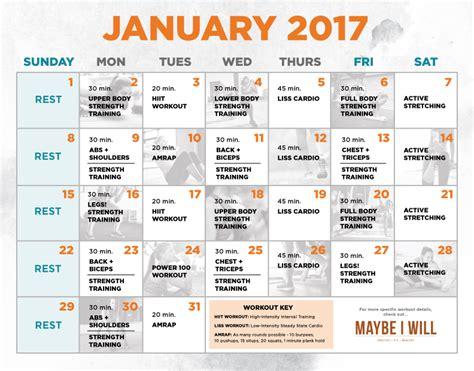 Workout Calendar Workout Schedule