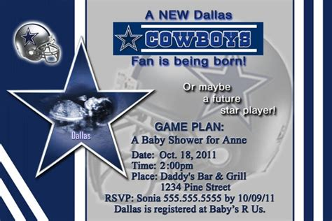 Dallas Cowboys Baby Shower Invitations by Dallas Cowboys Baby Shower Invitation