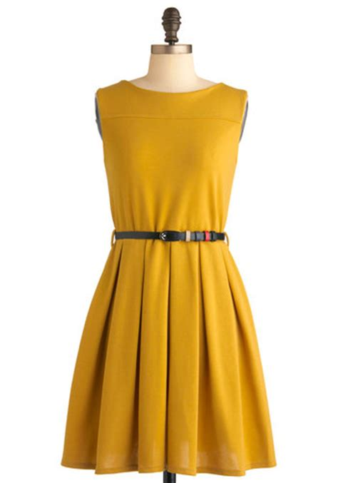 Simple Drees tis a shift to be simple dress in mustard mod retro vintage dresses modcloth