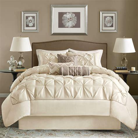 Bedding Set beautiful 7pc modern ivory taupe ruffled pintuck