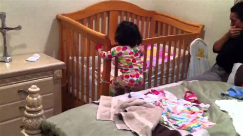 1 1 2 Year Old Climbing Out Of Her Crib Youtube How Big Is A Baby Crib