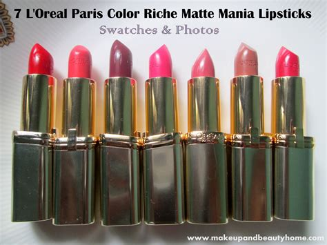 Lipstick Loreal 7 l oreal color riche matte mania lipsticks swatches