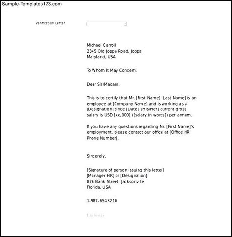 Residential Proof Letter To Bank Proof Of Employment Letter Sle Word Printable Sle Templates