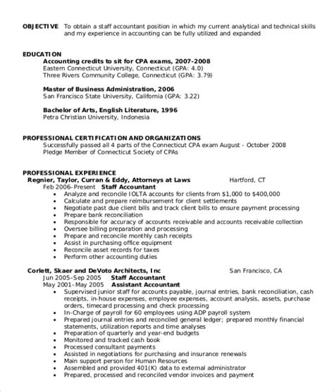 sle staff accountant resume sle objective for resume 10 exles in word pdf