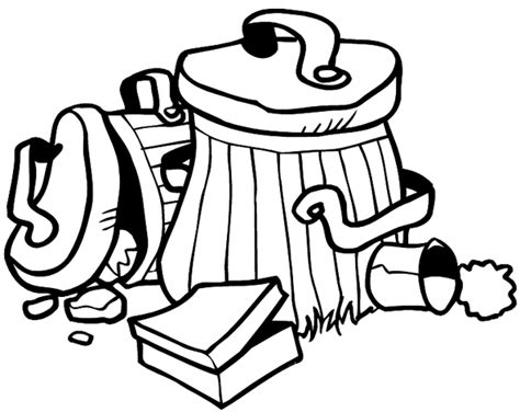 trash can colouring pages