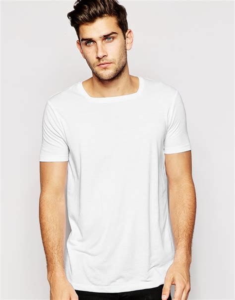 Square Tshirt lyst asos t shirt with square neck in white for