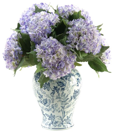 Hydrangea In Vase by D W Silks Hydrangeas In Large Blue White Porcelain Vase Traditional Artificial
