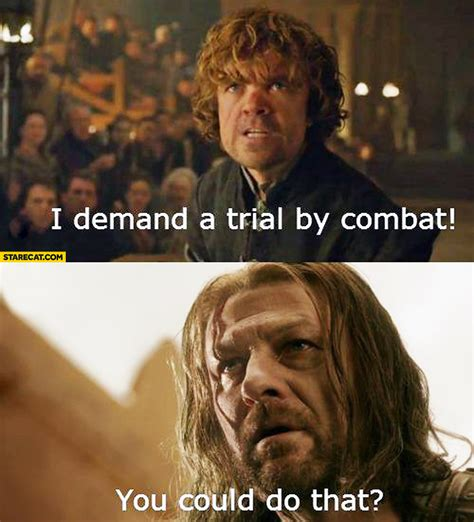 Demand Trial Combat i demand a trial by combat you could do that starecat