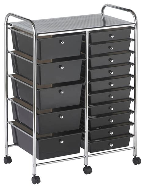 15 drawer organizer cart ecr4kids 15 drawer mobile organizer smoke contemporary