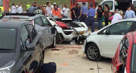 porsche 918 crash ten injured after porsche 918 spyder crashes into crowd in