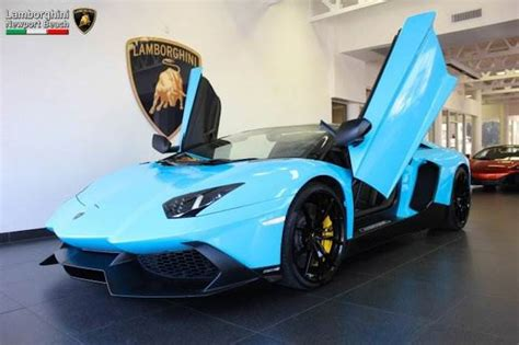 Baby Blue Lamborghini Aventador Baby Blue Aventador Roadster 50th Anniversary Spotted For Sale