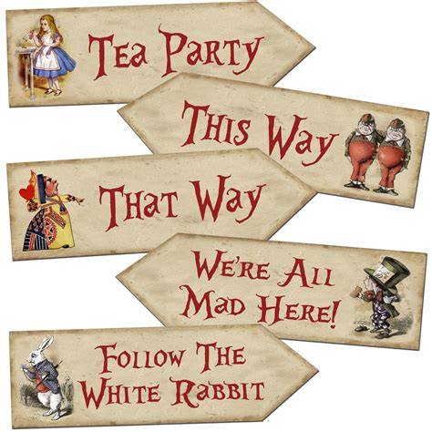 Alice In Wonderland Printable Decorations by Alice In Wonderland Arrow Quote Signs Prop Mad Hatters Tea