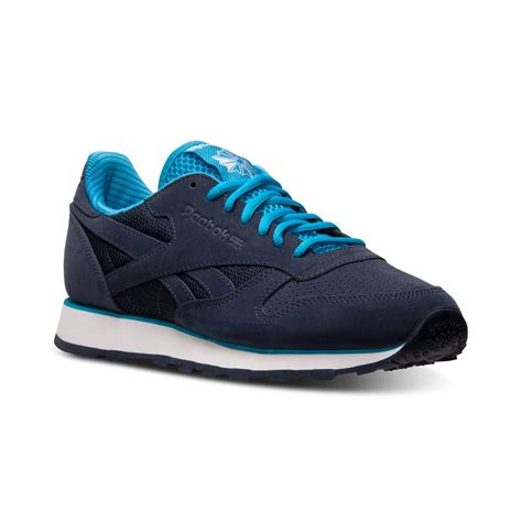 reebok sneakers for reebok mens classic leather tech casual sneakers from