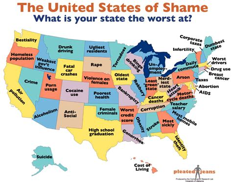 map of us what states are known for united states of shame most screwed up thing in each of