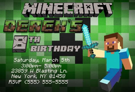 birthday card template minecraft printable birthday invitations free premium templates