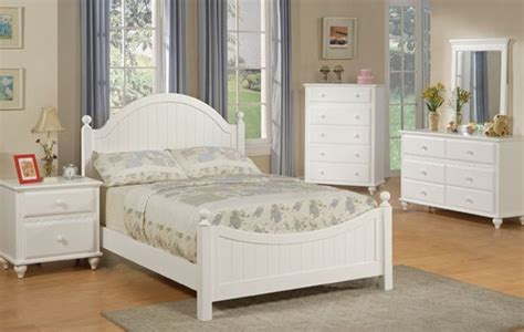 Cottage Style White Bedroom Furniture | cottage style white finish wood kids full panel bedroom