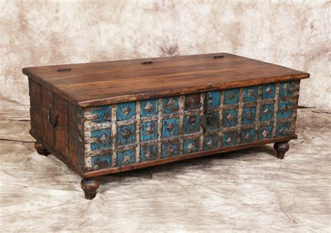 Antique Trunk Coffee Table Antique Blue Indian Trunk Coffee Table Metal Latch Storage Metal Accent Bands Haute Juice