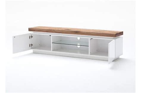 Lowboard Tv Design by Meuble Tv Design Laqu 233 Blanc Mat Et Bois 224 Led Cbc Meubles