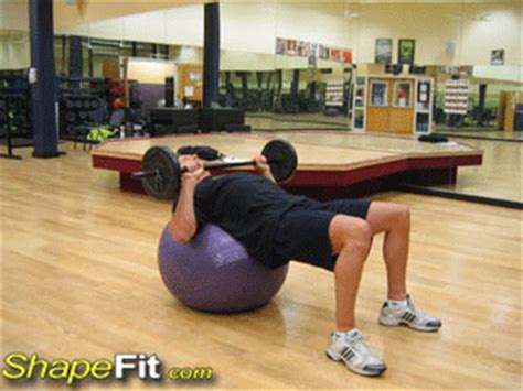 exercise ball bench press barbell chest press on exercise ball exercise guide