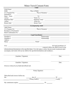 Printable Minor Travel Consent Form Legal Pleading Template Free Child Travel Consent Form Template Pdf