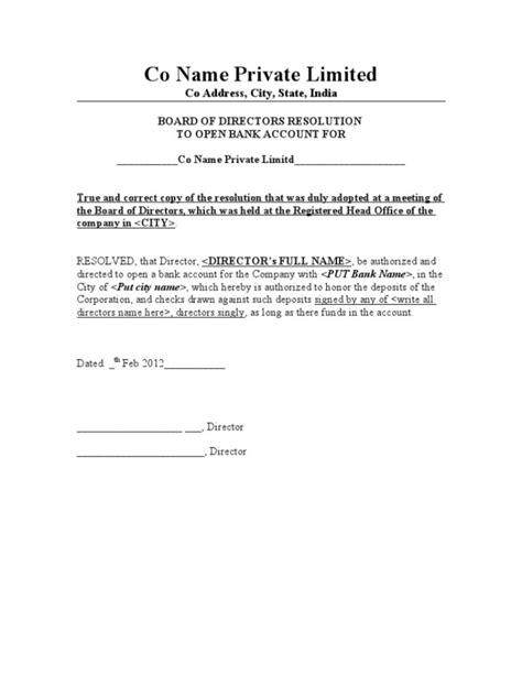 sle authorization letter for opening bank account sle of board resolution letter to open bank account