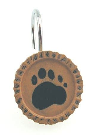 bear shower curtain hooks black bear bears paw print shower curtain hooks for the