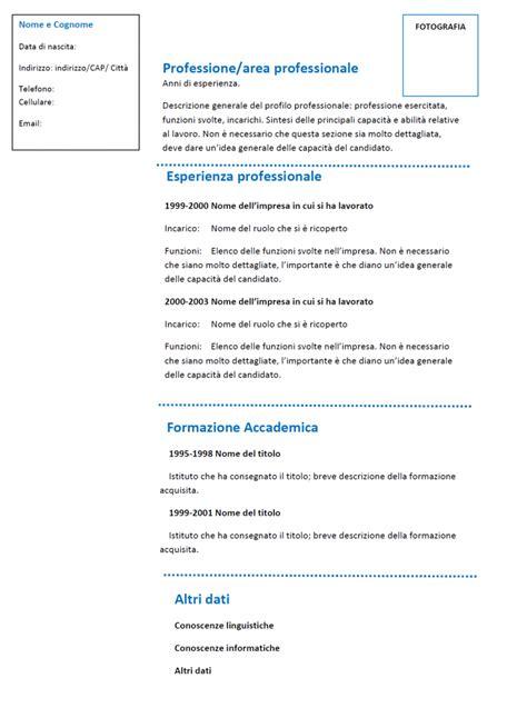 Modello Curriculum Vitae Italiano Da Compilare Curriculum Vitae Funzionale Modello 01 Modello Curriculum
