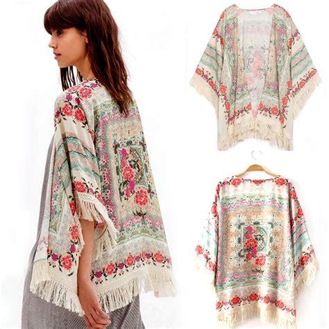Coat Kimono Cardigan new summer floral tassels shawl kimono