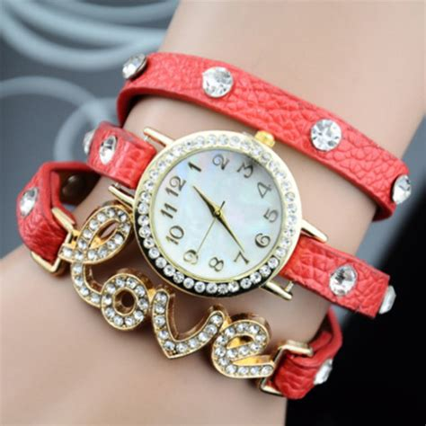 watch for girls beautiful collections jewels fashion watch jewelry red white new cool