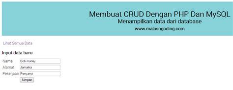 membuat aplikasi crud dengan php mysql download aplikasi crud pdo