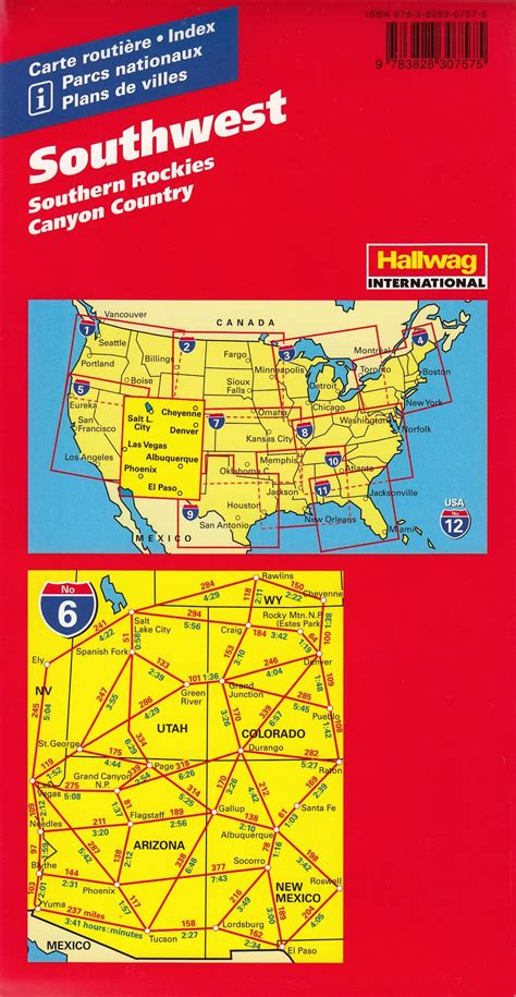 usa southwest map southwest hallwag usa map