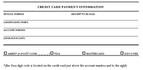 Credit Card Information Template Credit Card Form