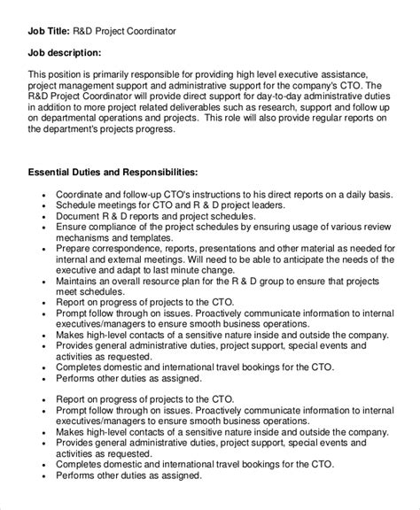 sle project coordinator description 8 exles in pdf