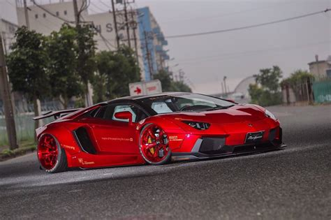 lamborghini aventador sv roadster liberty walk liberty walk lamborghini aventador roadster features red carbon forgiatos autoevolution