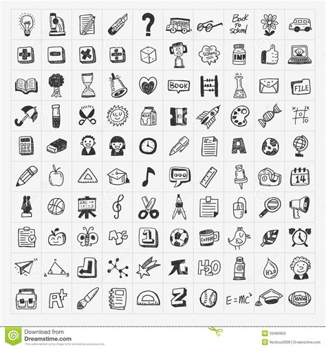 how to make a doodle sign up 100 back to school doodle draw icon set stock