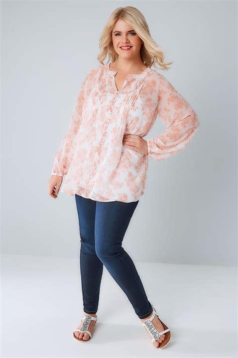 Blouse Filia Pink rosa blumen chiffon bluse in gro 223 en gr 246 223 en 44 64