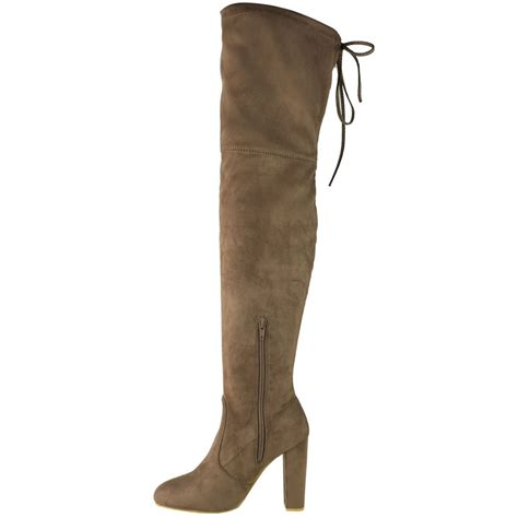 knee high mid heel boots womens thigh high the knee stretch block mid
