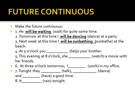 question of future continuous tense future perfect continuous sliderbase