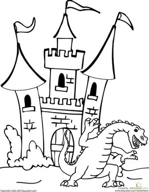 fairy tale castle coloring page dragon and castle worksheet education com