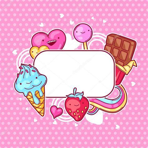 imagenes de bombones kawaii kawaii marco de coraz 243 n con dulces y caramelos dulce