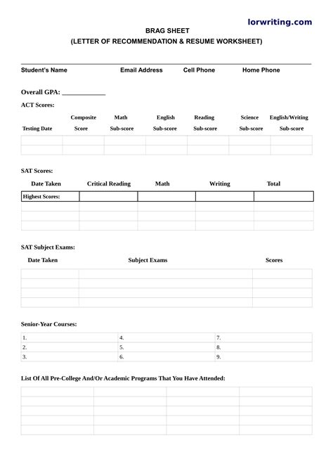Create The Best Brag Sheet For Letter Of Recommendation Brag Letter Template