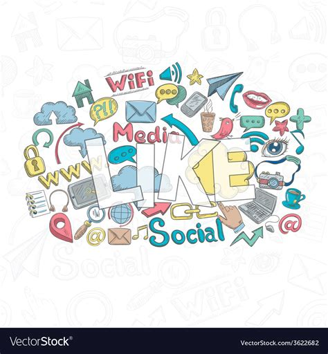 doodle like social doodle like royalty free vector image vectorstock